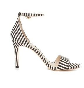 discount outlet online shop for official Details about Zimmermann Printed Strap Sandals | Heels Black & White  Striped, Ankle $600 RRP
