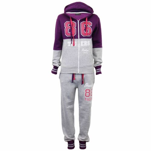 Womens Brooklyn Tigers 86 California Jogging Contrast Hooded Plus Size Tracksuit