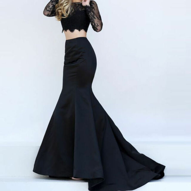 Fishtail Ball Maxi Long Satin Mermaid Black Party Gowns Evening Skirts Dresses