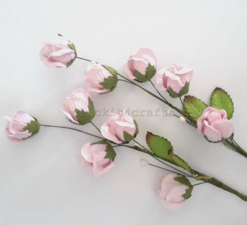 2 Pink Rosebud Paper Flower Sprays scrapbook wedding card craft supply SPT25-2