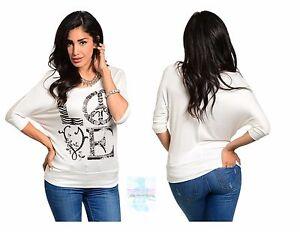 Women-Knit-Dolman-Top-Blouse-Shirt-3-4-Sleeve-Ivory-Casual-Yoga-Fashion-Cute