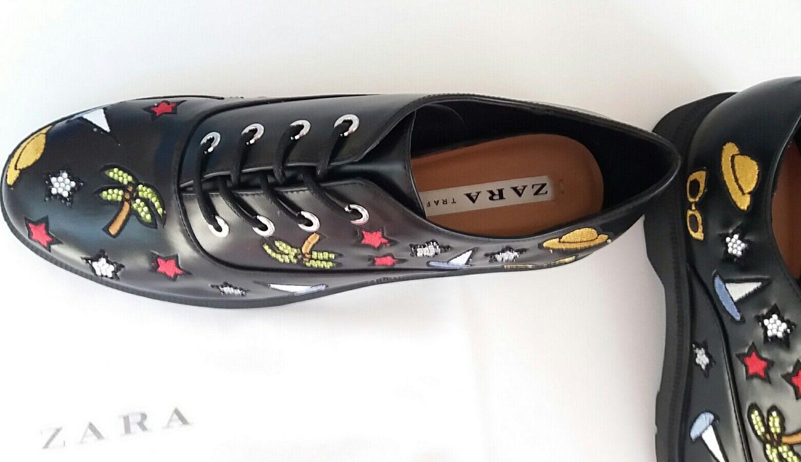 ZARA Special Edition Schuhe +Staubbeutel Blücherschuhe Stickereien Gr.39 Limited