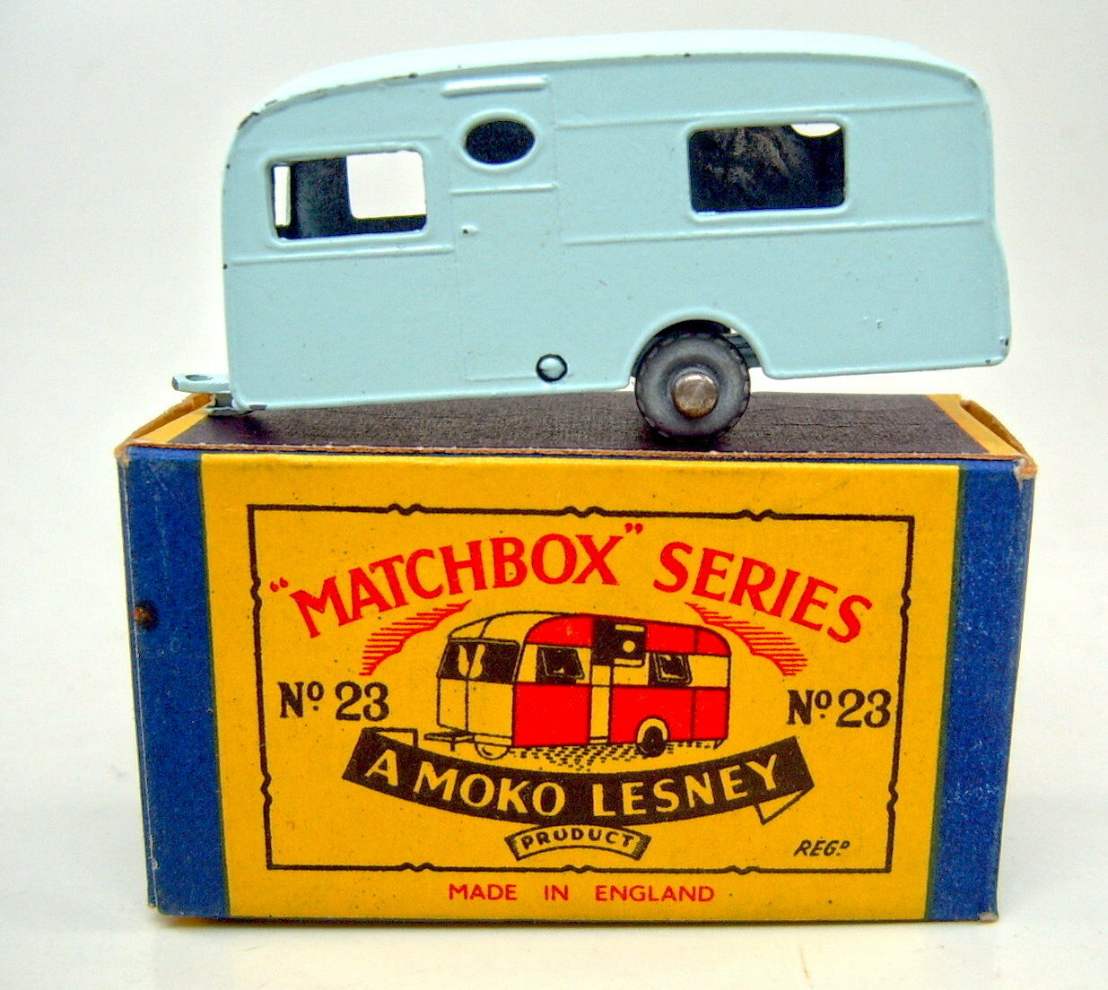 Matchbox Rw 23a Caravan Trailer Light bluee Metal Wheels in  B  Box