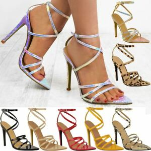 15d608170e2 Womens Ladies Barely There High Heel Party Bridal Sandals Ankle ...