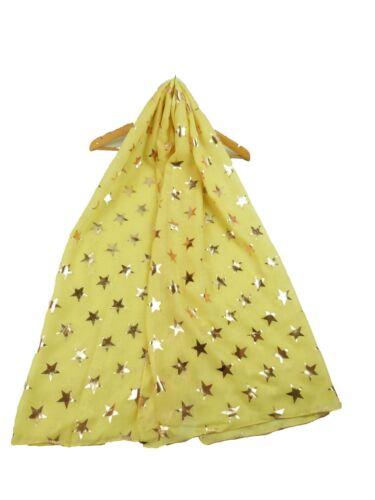 Hoja De Oro Rosa Metálico Antiguo Estrellas Estampado Mujeres Damas Bufanda Envoltura De Moda