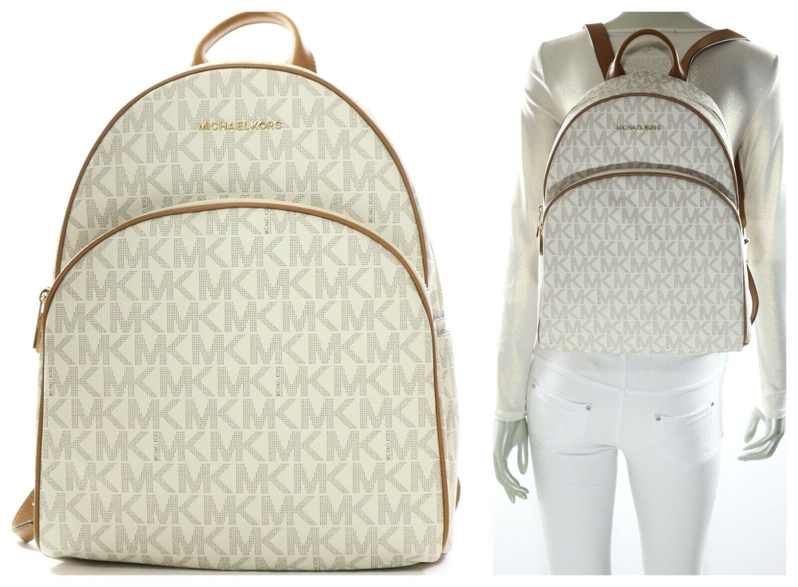Michael Kors Signature PVC Abbey Large Backpack in Vanillaacorn 35s7gayb3b