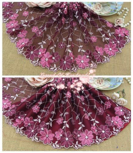 """8/""""*1Y Embroidered Tulle Lace Trim~Rose Wine+Light Pink+Hot Pink~Serene Autumn~"""