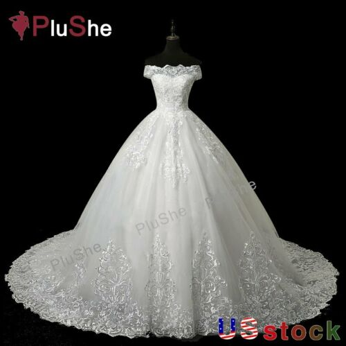 Plus Size Luxury Lace Embroidery 100cm Long Train Wedding Bride Dresses US6-28W