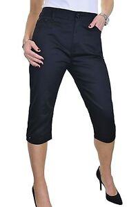 Chino Stretch Capri Cropped Jeans Diamante Cuff Black NEW 14-24