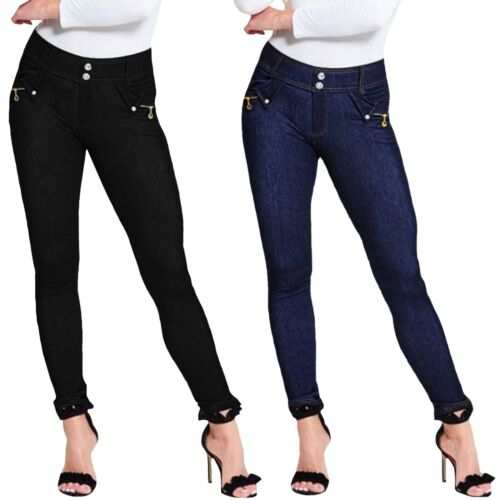 Mesdames Chaîne Fermeture Éclair Poches Denim 2 Bouton Skinny Stretch Pantalon Legging Jegging UK