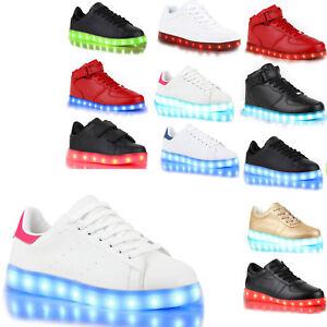 more photos 430b9 4cf0a Details zu Blinkende Damen Sneakers Led Light Farbwechsel Schuhe 77824 LED  Licht Trendy