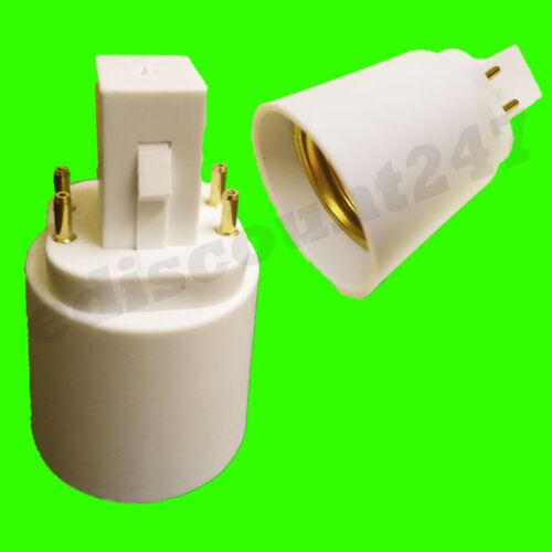 UK stock. Du G24 pour E27-4 pin socket adaptateur convertisseur LED lampe titulaire uk vendeur