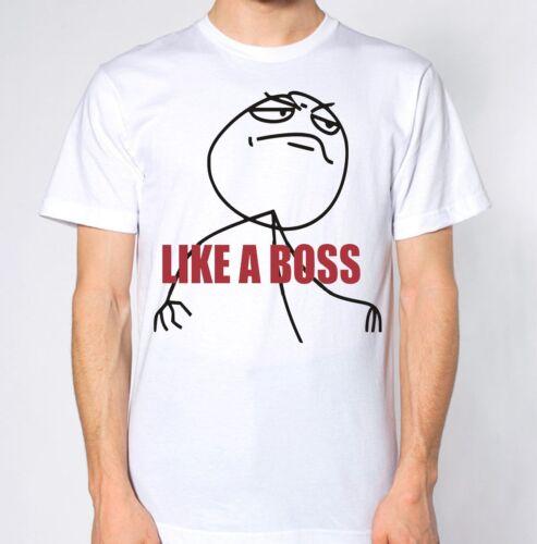 Like A Boss T-Shirt Stickman Top Humour Funny Lol