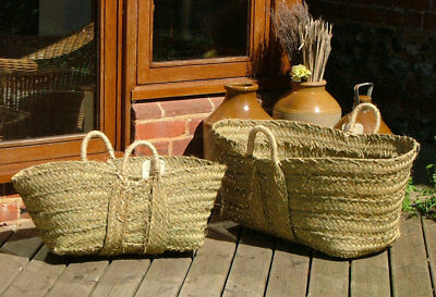 Esparto Log Basket Carrier Hand Made Home Storage Shopping 2 Sizes Kindling