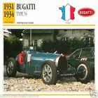 BUGATTI TYPE 54 1931 1934 CAR VOITURE FRANCE CARTE CARD FICHE