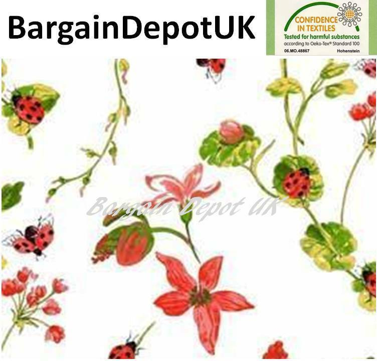 Ladybirds Flowers PVC Wipe Clean Vinyl Tablecloth ALL SIZES - Code  F752-1