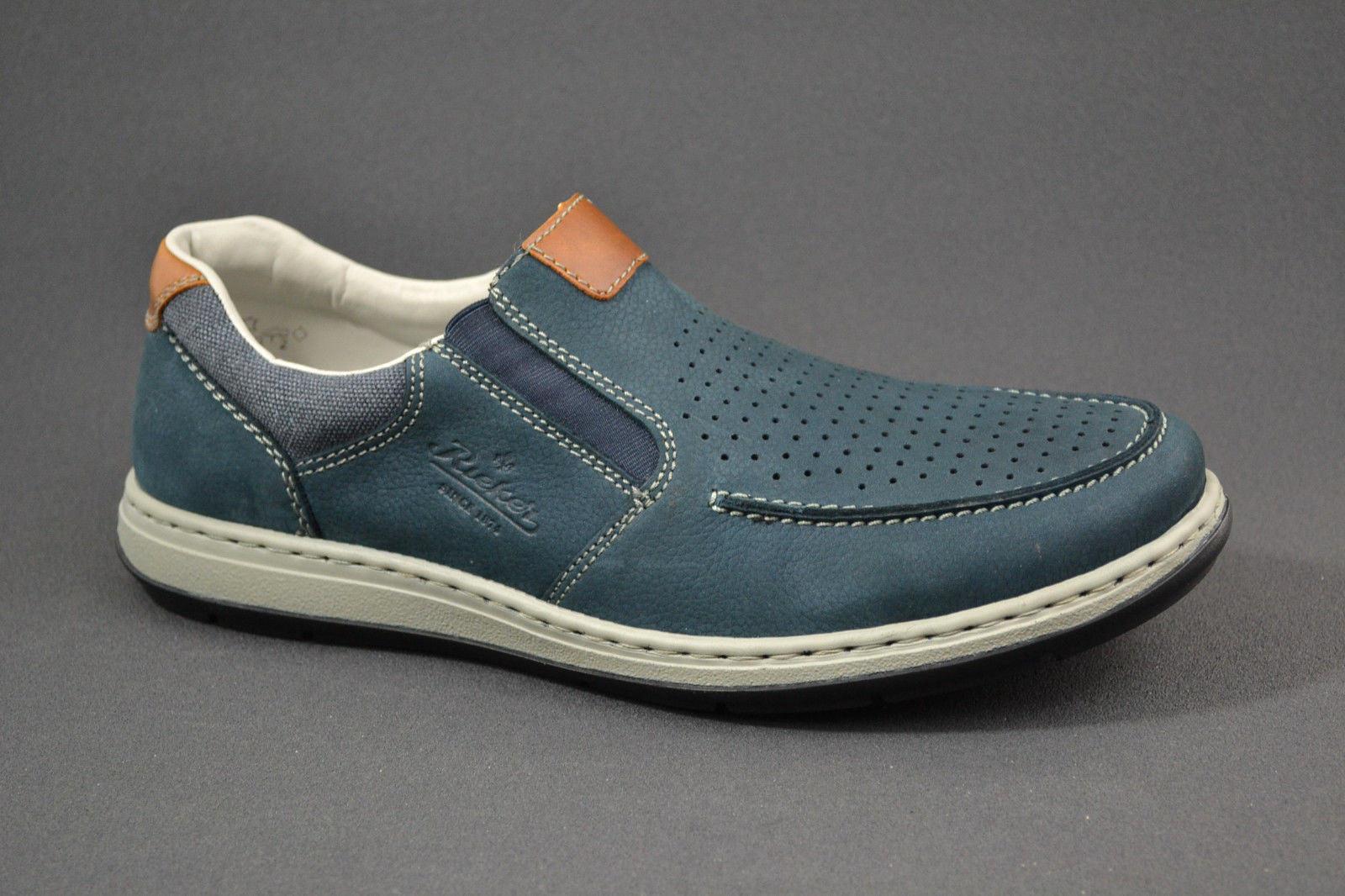 RIEKER Herren Schuhe comfort Slipper blau Leder extra weit NEU REDUZIERT 17356