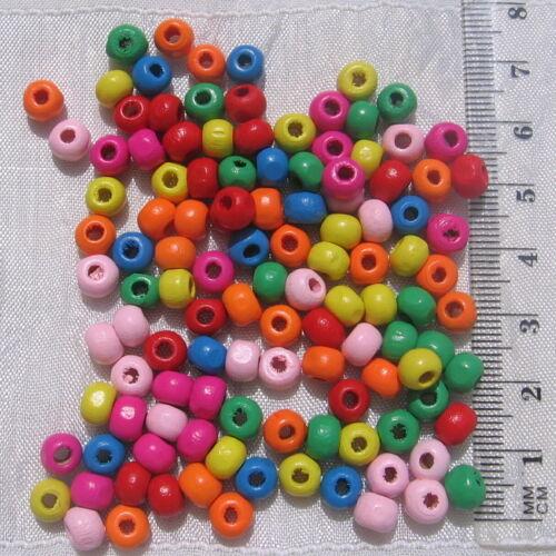 LOT DE 400 PERLES RONDES EN BOIS MULTICOLORES 6MM x 5MM création bijoux *P78.6