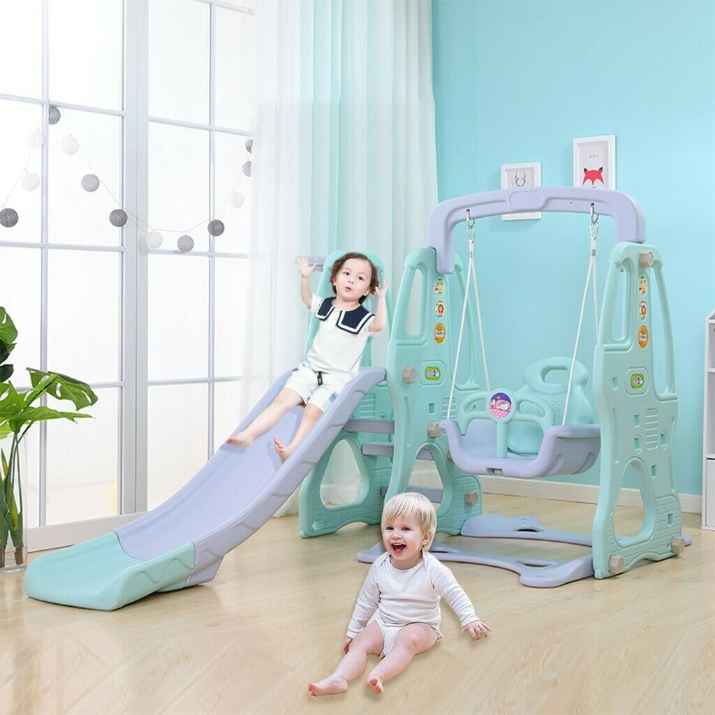 Indoor Climber and Baby Swing Slide Set Indoor Swing Set Combination Swing FE