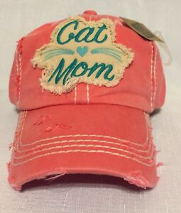 256fd95bd0a Image is loading Cat-Mom-Embroidered-Factory-Distressed-Women-Baseball-Cap-