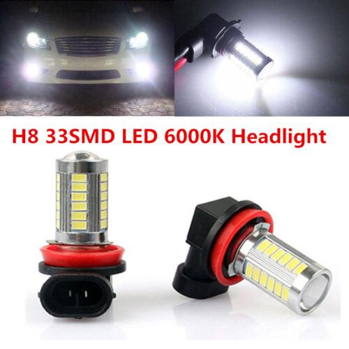 2x H8 H11 33-5730-SMD Fog Driving Light Super White 6000k High Power Bulbs DC12V