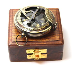 Brass-Sundial-Compass-Antique-Push-Button-Sundial-Compass-with-Box