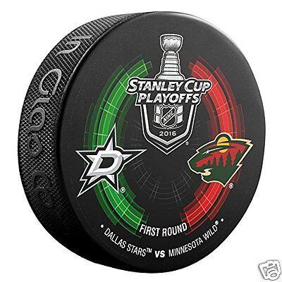 DALLAS STARS vs MINNESOTA WILD 2016 Stanley Cup Playoffs NHL DUELING LOGO PUCK