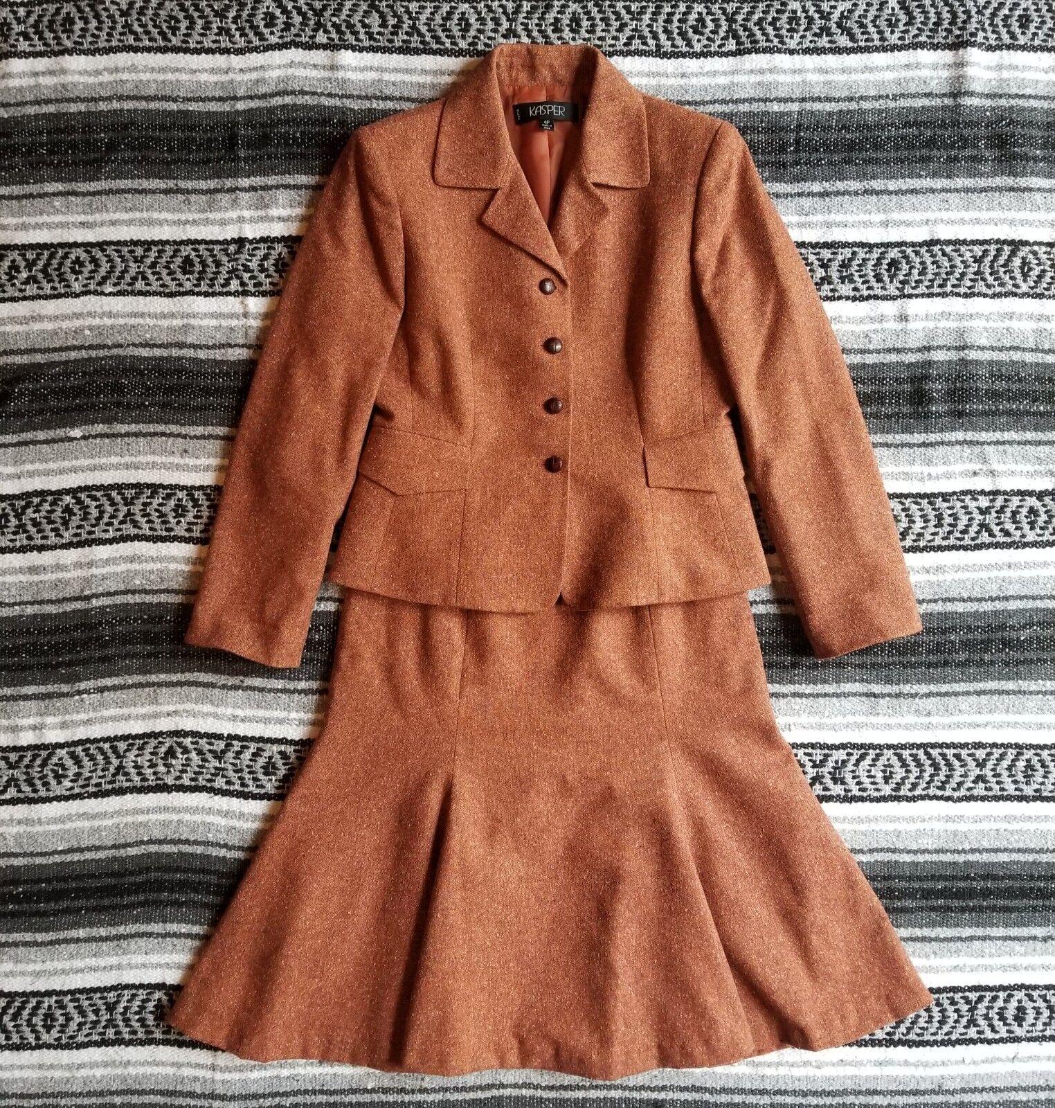 Kasper Sz 4P 2PC Suit Button Front Blazer Below Knee Godet Skirt orange Tweed