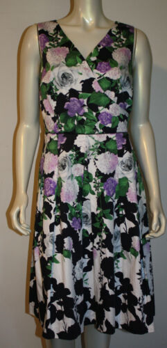 Talbots Hydrangea Floral Tea Dress 8 Purple Pink O