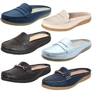 Ladies-Leather-Loafer-Mules-Comfort-Shoes-Womens-Slider-Moccasins-Shoes
