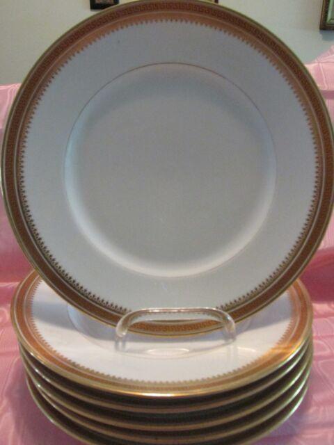 6 Antiq Limoges RED GREEK KEY on GOLD DINNER PLATES Bernardaud & Co Gold Tracery