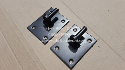 2X HINGES//HANGERS IRON 12mm SPIGOTS PINS GATE DRIVEWAY DOUBLE SINGLE GATES