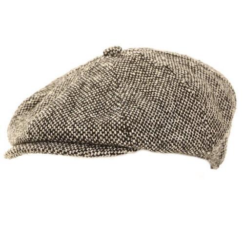 Mens Peaky Blinders Newsboy Wool Mix 8 Panel Flat Cap Bakerboy Grey 3 Sizes