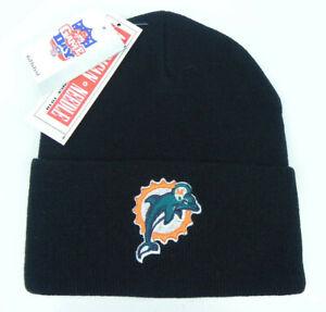 MIAMI-DOLPHINS-NFL-VINTAGE-BLACK-KNIT-RETRO-CUFFED-AMERICAN-BEANIE-CAP-HAT-NEW