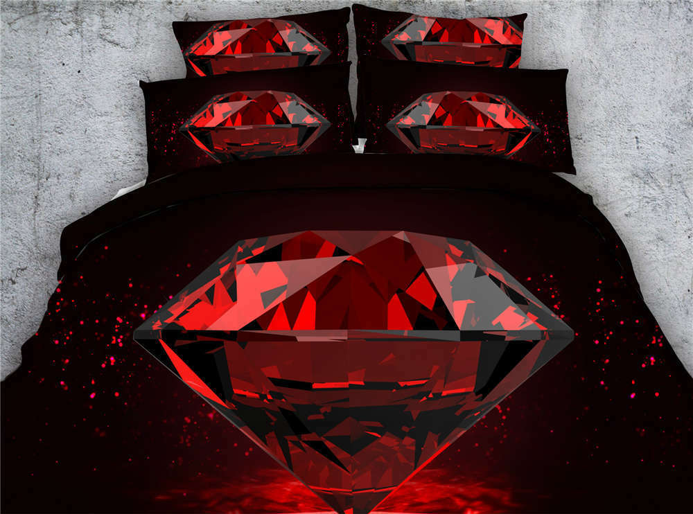 Crimson Diamonds 3D Printing Duvet Quilt Doona Covers Pillow Case Bedding Sets