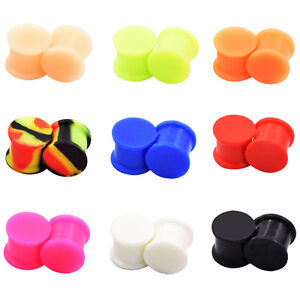 PAIR-SOLID-LARGE-LIP-Silicone-Ear-Gauges-Ear-Skins-Soft-Ear-Plugs-Ear-Tunnels