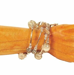 Pearl-White-Glass-Pearl-Shell-Silver-Tone-Charm-Handmade-Wrap-Coil-Bracelet