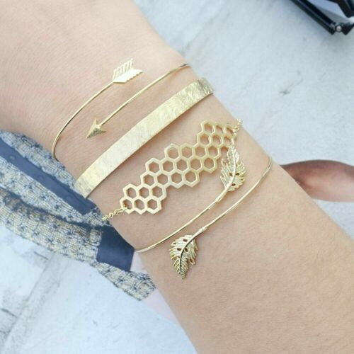 Bohemia 4Pcs//Set Ladies Simple Gold Leaf Arrow Opening Bangle Chain Bracelet New