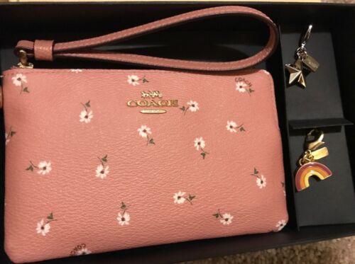 Coach F27472 Floral Corner Zip Wristlet Charms /& Gift Box *U Pick* $125 NEW READ