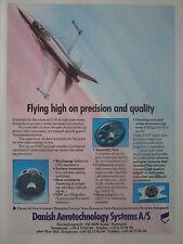 5/1989 PUB DATS DANISH AEROTECHNOLOGIES SYSTEMS F-16 AIRCRAFT ORIGINAL AD