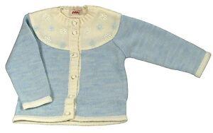 Détails sur Gilet bleu et blanc en laine, pour bébé fille, taille 18 24 mois