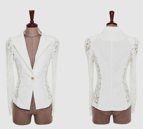 Vogue Women Lady Elegant Lace Splicing Slim Fit Blazer Suits Jacket UK Seller