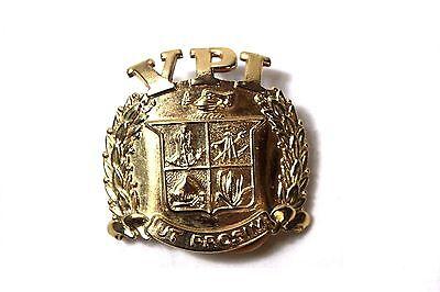 Vintage Virginia Tech VPI ROTC Brass Metal Military Uniform Insignia Cap Emblem