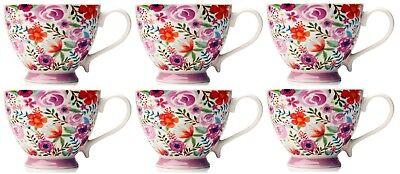 Set of 6 Large Oversized Bone China Mugs Coffee Soup Mugs Floral Tropical