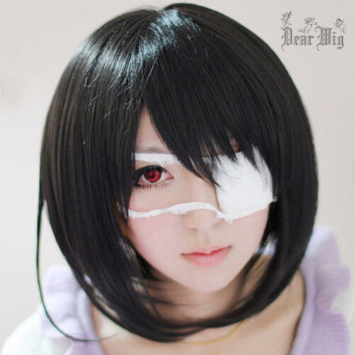 Another Misaki Mei Short Black Cosplay Anime Hair Party Full Wig Free Wig Cap