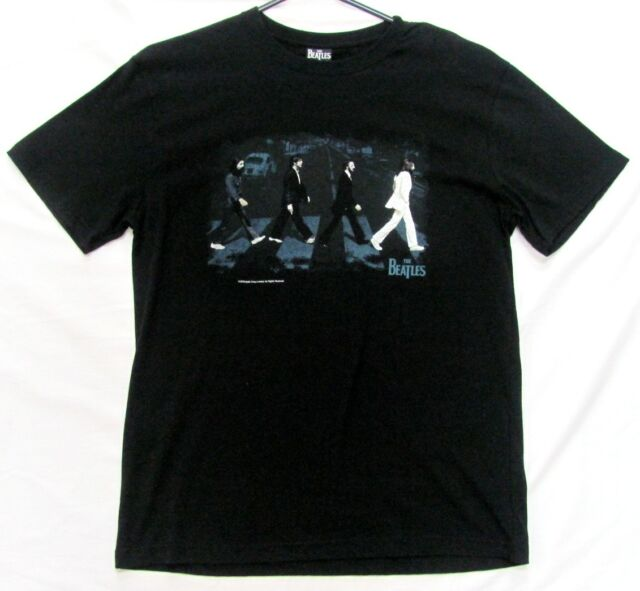 THE BEATLES ABBEY ROAD COVER BLACK TSHIRT T-SHIRT SHIRT MEMORABILIA MENS ADULT