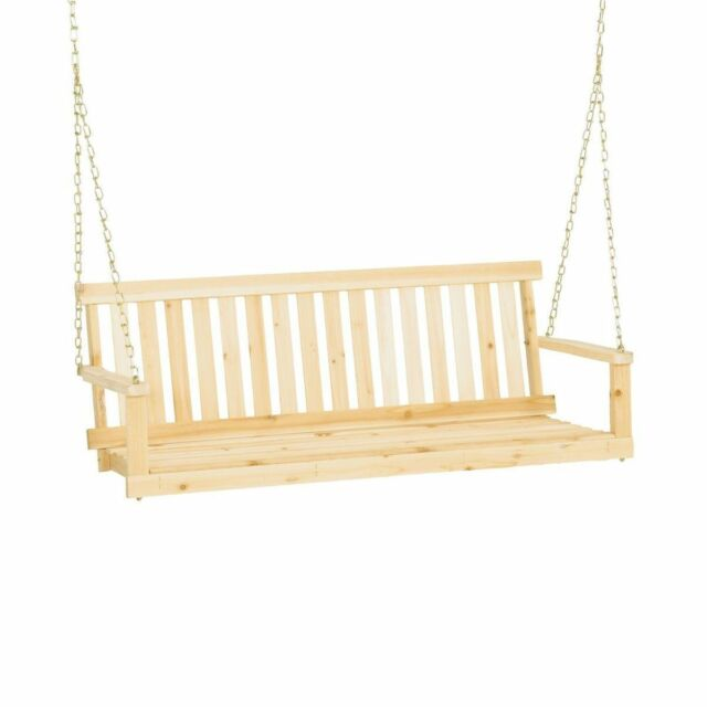 Jennings H-27/H-24 Traditional 4' Wooden Outdoor Porch Swing w/ Chain Hanging Ki