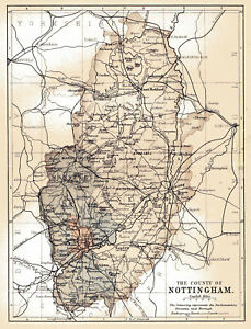 An Enlarged Map Of The County Of Nottingham England Original