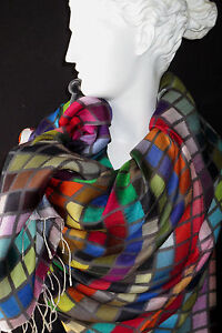 Tolani Tiles Multi Colored Charcoal Grey Grid Silk Scarf Wrap New With Tags!