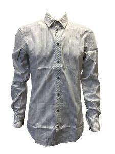 $790 Dolce /& Gabbana Mens Slim-Fit White Blue Long Sleeve Logo Dress Shirt 38//48